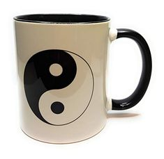 Yin Yang, Mugs, Tableware, Gifts, Coffee, Flower Of Life, Tea Cup, Gift For Boyfriend, Black