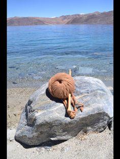 Knitting at pangong lake, ladakh