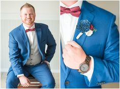 Groom in cornish blue suit with burgundy bow tie and brown leather shoes and wooden flower boutonniere Woodsy Wedding, Forest Wedding, Burgundy Bow Tie, Summer Wedding, Wedding Day, Cute Little Boys, Strong Marriage, Brown Leather Shoes, Tuxedo Wedding