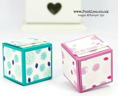 Stampin' Up! Demonstrator Pootles -Easy No Glue Foldable Box Tutorial using Stamps