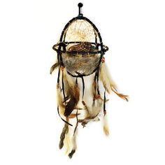 """20"""" Buffalo Dream Catcher Ball With Beads and Feathers"""