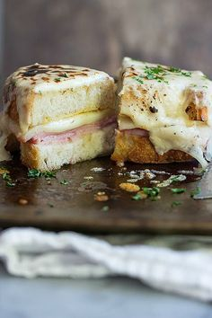 Melted Belgioioso cheese with ham and mustard
