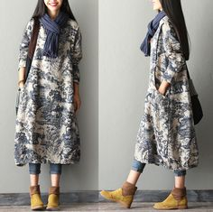 Material: linen, cotton Loose style two pockets one size(Fit for M,L,XL) Length : 44.09 inches / 112 cmShoulder : 16.14 inches / 41 cmBust : 44.88 inches / 114