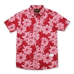여름에 숏팬츠나 치노팬츠 등에 매치하면 시원한 분위기를 연출할 수 있는 Aloha Shirts. NUDE BONES 누드본즈 [NUDE BONES] Aloha shirts Vintage Red