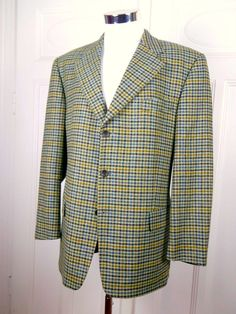British Vintage Windsor Blazer, Checked Jacket Tan Brown Camel Gray Blue, Tailored Wool Blazer, Near Mint Checked Sport Coat: Size 42 US/UK by YouLookAmazing on Etsy