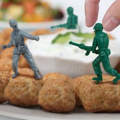 Army men toothpicks for hors d'oeuvres - genius