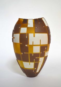Vase, fused glass roll up by Philip  Baldwin & Monica Guggisberg