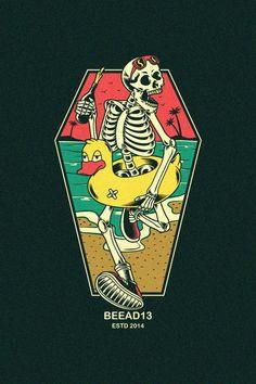 Skull Duck Buoy On Beach Dark Stock Vector (Royalty Free) 1219349377 Skeleton Art, Art Et Illustration, Sgraffito, Surf Art, Skull Design, Dope Art, Graphic Design Posters, Psychedelic Art, Cartoon Art