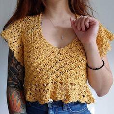 T-shirt Au Crochet, Crochet Crop Top, Crochet Blouse, Double Crochet, Single Crochet, Crochet Top Outfit, Crochet Designs, Crochet Patterns, Crochet Summer Tops