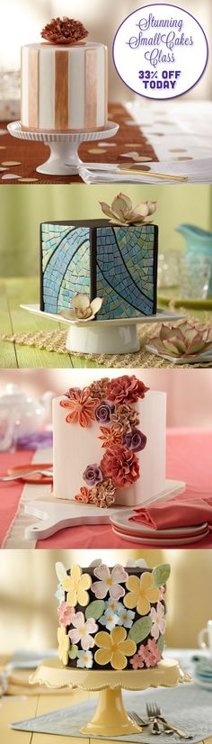 Make a big entrance with just one tier! Join Wilton cake decorator Valerie Pradhan and learn techniques that combine dimension, color and texture into four small, standout designs. Learn how to make striking sugar flowers, geometric patterns, metallic stripes and more! Save 33% now!