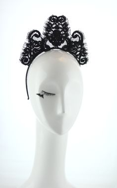 Black french lace crown