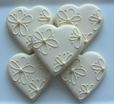 Items similar to One Dozen Elegant Heart Decorated Sugar Cookies For Wedding, Anniversary, Engagement Party, Shower, Birthday Or Any Special Occasion on Etsy - Sofisty recipes Fancy Cookies, Heart Cookies, Iced Cookies, Cute Cookies, Royal Icing Cookies, Sugar Cookies, Elegant Cookies, Owl Cookies, Sugar Cake