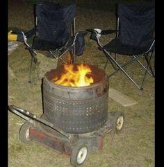 Love this repurpose for a lawnmower & washing-machine tub