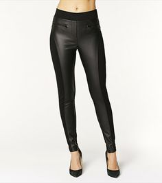 Add an edge to your spring wardrobe with this high waist faux leather legging!