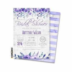 Purple Bridal Shower Invitation, Garden Watercolor Flowers Invite Bridesmaids Brunch Ultra Violet Blue Gray Rustic, Printable or Printed 16 Purple Wedding Invitations, Bridal Shower Invitations, Bridesmaid Brunch, Bridesmaids, Flower Invitation, Invite, Wishes For Baby, Sign Printing, Printable