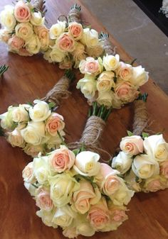 Pink Apricot and White wedding Bouquets created by The Wild Ordhid Florist, Echuca Victoria. 0354806777 #Rosebouquet #weddingbouquet #thewildorchid #roses