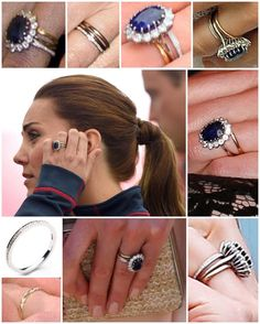 Catherine, Duchess of Cambridge's diamond eternity ring in addition to her Welsh Gold wedding band and Diana's sapphire engagement ring.