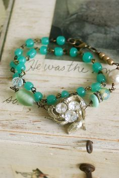 Evelyn.vintage green glass,rhinestone,wrap bracelet.Tiedupmemories