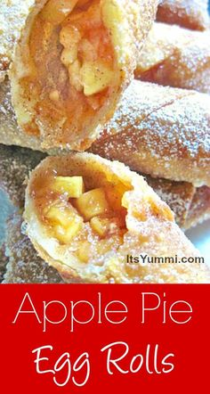 Fried Apple Pie Egg Rolls Recipe - These are a delicious snack or dessert, and SO good dipped into caramel sauce!