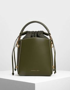 20fbb99340474 Charles & Keith Structured Drawstring Bucket Bag #bags #green #trendy I  love this · Кожаные ...