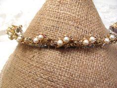 Headband, vintage necklace