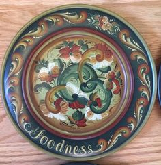 5 beautiful wood Norwegian Rosemaling plates with virtues - Marlys Hammer | eBay