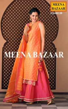 Get a everlasting look with this amazing ornage and pink sharara suit . Featuring delicate zari butti work all over and inner layer butta, this attire is perfect for any special occasion. Comes with pink chanderi sharara with finishing lace and similar chanderi dupatta with zari work.