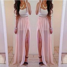 Light pink Chiffon skirt Maxi Skirt Long by originalstyleshop ...