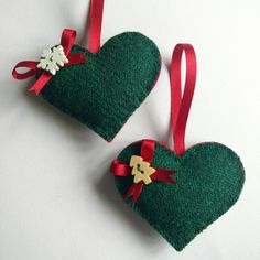 Matching red Harris Tweed hearts available too. Christmas Makes, Felt Christmas, Christmas Crafts, Father Christmas, Christmas Ornaments, Christmas Ideas, Xmas, Christmas Tree Decorating Tips, Wooden Christmas Trees