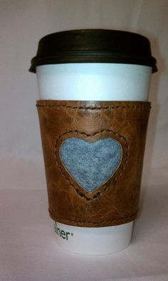 Leather and Felt Coffee Cozy/ Sleeve by Papuus on Etsy, $9.50