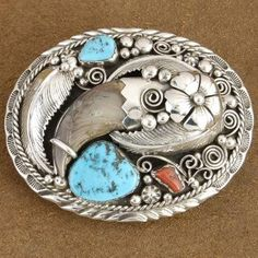 Native American Jewelry | Navajo Handcrafted belt buckles, Genuine Sleeping Beauty Turquoise Coral Genuine Bear Claw Silver Belt Buckle, http://www.nativeamericanstuff.net/Navajo%20Handcrafted%20Belt%20Buckles.htm
