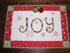 "Christmas Quilted Table Runner ""JOY"".  Idea for mug rugs."