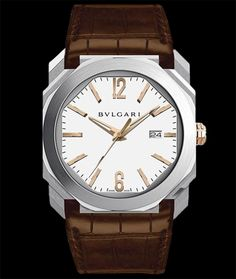 Bulgari Octo Stainless steel, 18 karat rose gold crown. Alligator Leather strap. Available at Cellini Jewelers