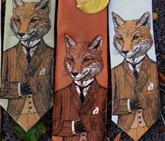 A stylish, handsome fox adorns this original tie. He's suave and sophisticated and wears a tweed jacket. He is the dapper fox. Fox Man, Mr Fox, Der Gentleman, For Elise, Unique Gifts For Him, Abraham Lincoln, Textiles, Just For You, Etsy