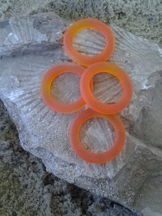 Sea Glass Beads   Frosted Tangerine Round Ring by PrismsOfLight, $3.50