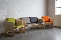 """TGM Russian Birch Plywood, Brass hardware, Custom Upholstery c.2014 Dimensions: 42"""" W 