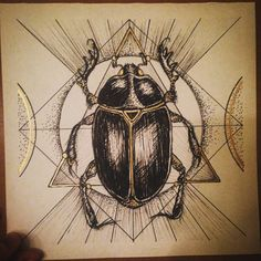 sacred geometry scarab - Google Search Scarab Tattoo, Celtic Animals, Bug Tattoo, Animal Symbolism, Body Modifications, Sacred Geometry, Tattoo Inspiration, Beetle, Art Reference