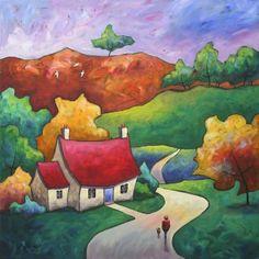 Rosehip Lane by Gillian Mowbray Art And Illustration, Illustrations, Great Paintings, Landscape Paintings, Funky Art, Arte Popular, Naive Art, Whimsical Art, Art Images