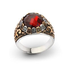925K Sterling Silver Man Ring With Red Tourmaline #IstanbulJewellery #Statement