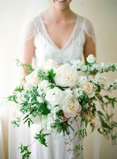 "Pretty ""Free Form"" Bridal Bouquet Comprised Of: White Peonies, Light Blush Peonies, Pastel Pink ""Vintage"" Roses, White Lilac, Several Varieties Of Green Foliage××××"
