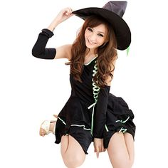 Green Cute Sexy Womens Witch Halloween Costume ($33) ❤ liked on Polyvore featuring costumes, green, sexy costumes, sexy witch halloween costume, black witch costume, black costume y womens halloween costumes