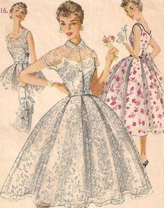 1950s Dress Pattern  Full Skirt Sleeveless by RainbowValleyVintage