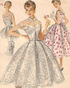 "1950s Dress Pattern - Full Skirt Sleeveless Sun or Day Dress & Bolero 34"" Bust"