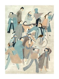 Crowd by Beatrice Cerocchi - Toi Gallery Illustration Vector, People Illustration, Children's Book Illustration, Mail Art, Illustration Inspiration, Design Graphique, Italian Artist, Art Design, Whimsical Art
