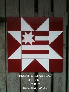 Barn Quilt, Country Star Flag Pattern. $65.00, via Etsy.
