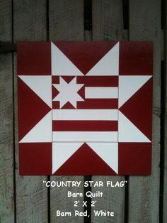 Barn Quilt, Country Star Flag Pattern. $65.00, via Etsy.