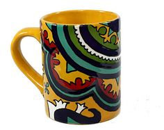 """Yellow, Red, Green and Blue Talavera Style Mug/Coffee Cup -- """"Classic Medallion"""""""