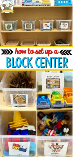 Center Set Up in Preschool Preschool Block Center Set Up ideas. How to stock and organize your block center.Preschool Block Center Set Up ideas. How to stock and organize your block center. Block Center Preschool, Preschool Set Up, Preschool Classroom Setup, Preschool Rooms, Preschool Centers, Toddler Classroom, Classroom Organization, Organization Ideas, Preschool Crafts