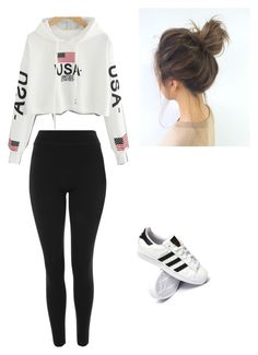 """""""Untitled #49"""" by haileymagana on Polyvore featuring Topshop and adidas"""