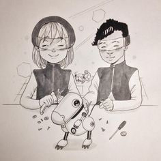 Building robot friends n.11 #inktober #inktober2015 #friends #dog #shihtzu #girl #boy #art #illustration #女の子 #犬 #イラスト #copic #comic #futuristic #fashion #original #robot